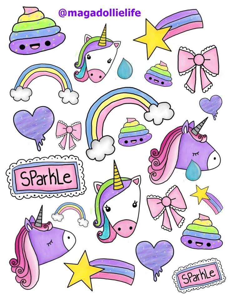 Magical Unicorn Sticker Art for 8.5 X 11 inch Sticker Paper.