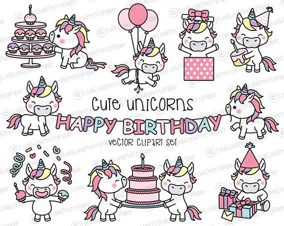 Cute Unicorn Vector Clipart Set.