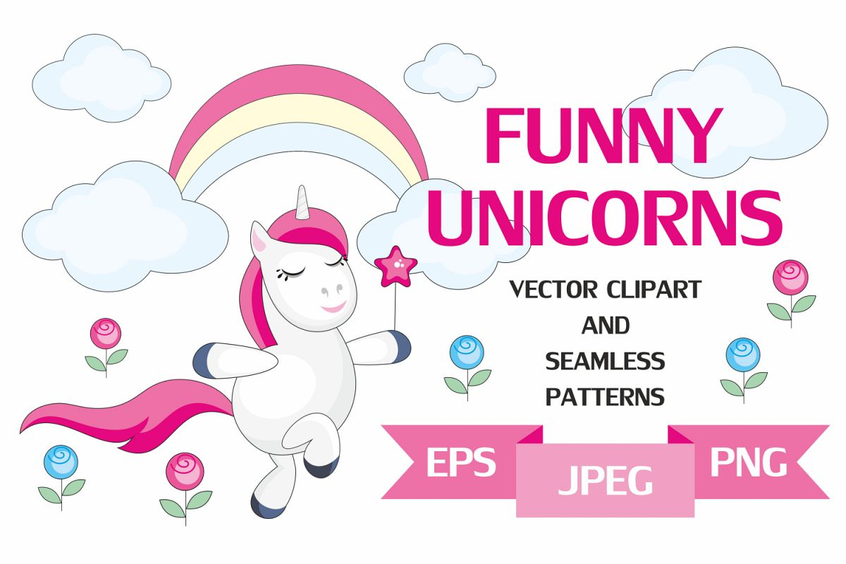 Funny unicorns. Vector clipart and seamless patterns..