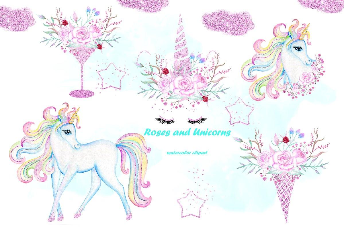 Watercolor Unicorn clip art..