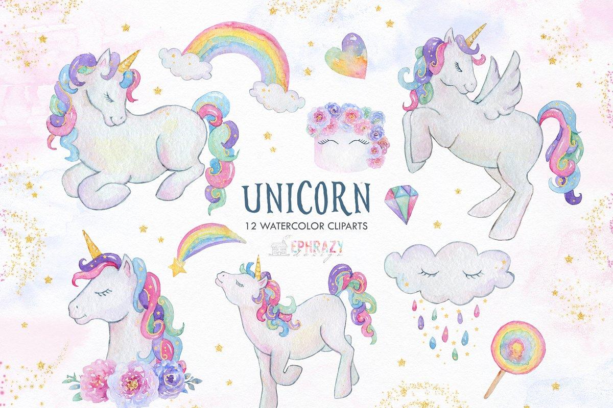 Unicorn clipart. Watercolor.