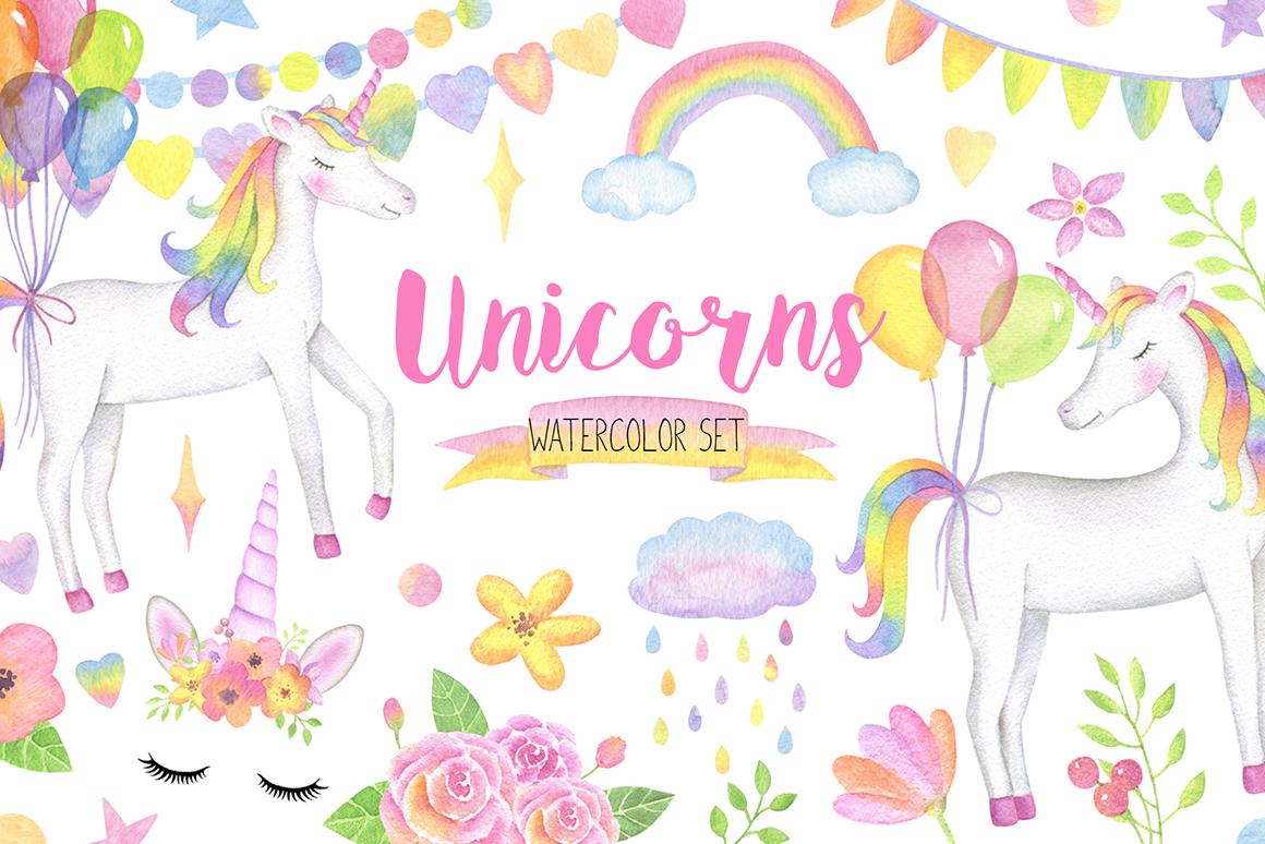Magical Unicorn Watercolor Set, Unicorn Face Clipart.