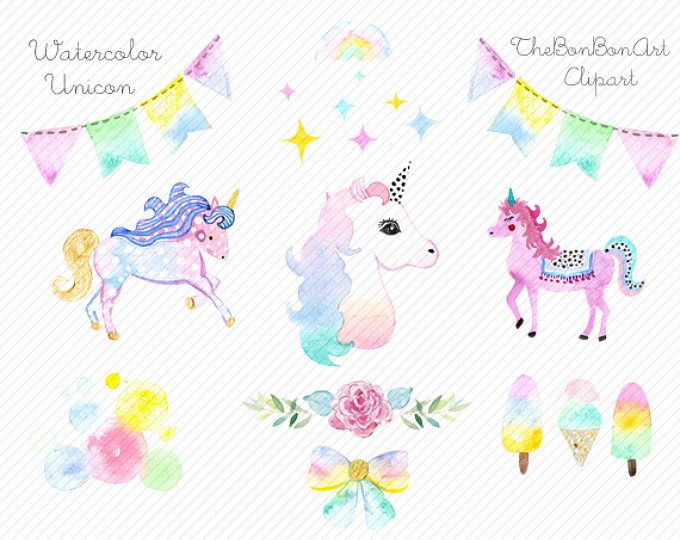 watercolor Unicorn Clipart. Unicorn Printable. Baby Shower.