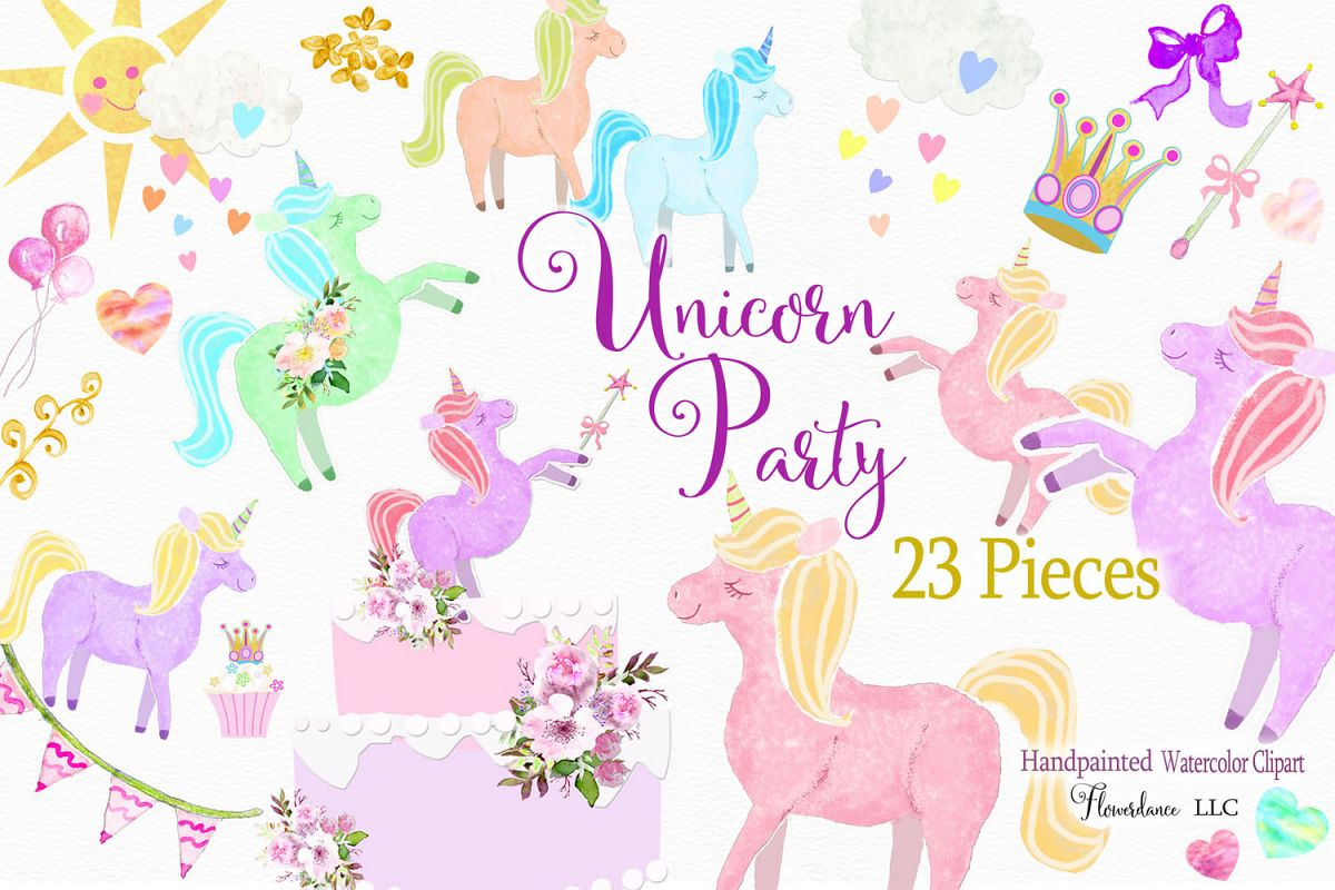 Unicorn Clipart in Rainbow Colors, Princess, PNG, Watercolor.