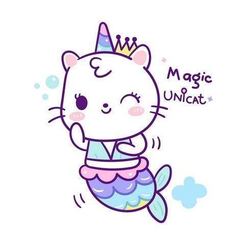 Cute unicorn cat mermaid.