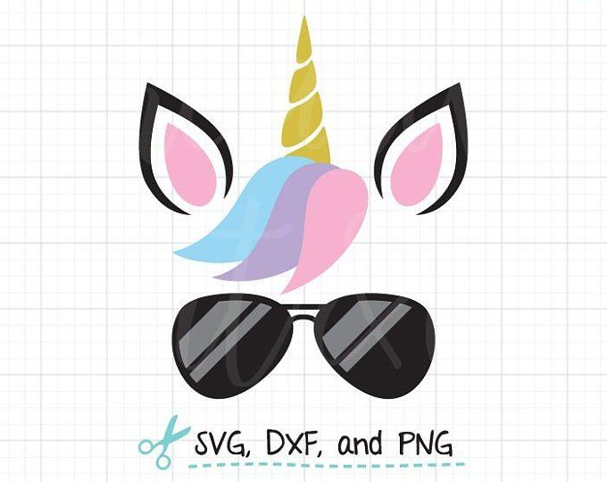 Cute Unicorn Face SVG DXF Nerdy Unicorn Wearing Glasses.