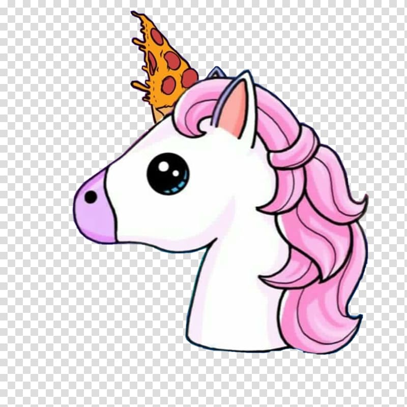 White and pink animal illustration, Unicorn horn Drawing.