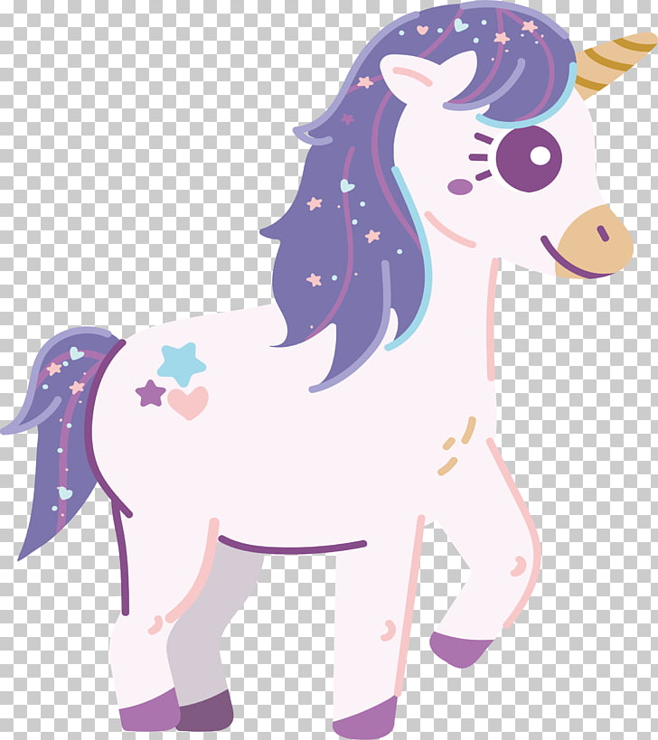 White romantic unicorn, white, purple, pink, and blue.