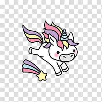 Unicorn Stickers, pink, white, and purple unicorn jumping.