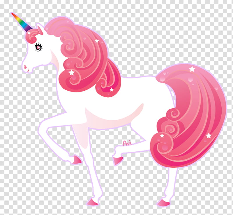 Unicorn, white and pink unicorn transparent background PNG.
