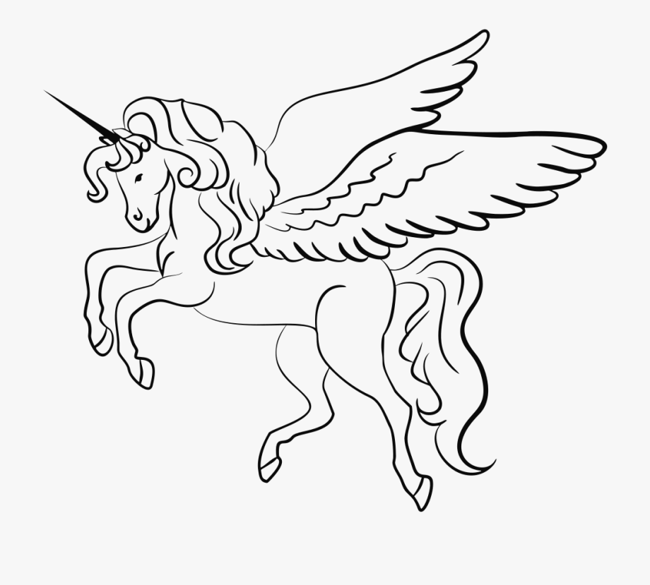 Winged Unicorn Line Art.