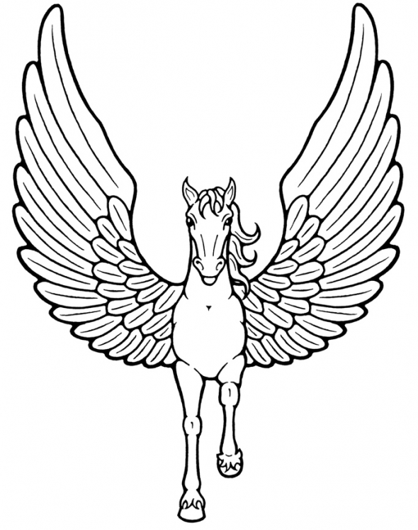 Elegant Unicorn With Wings Coloring.