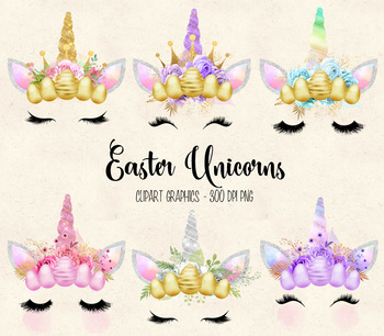 Easter Unicorn Faces clipart, horns, crowns, eggs, eyelashes, flowers clip  art.