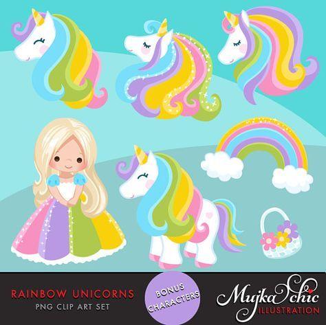 Unicorn Clipart Rainbow unicorns and little girls. Summer.