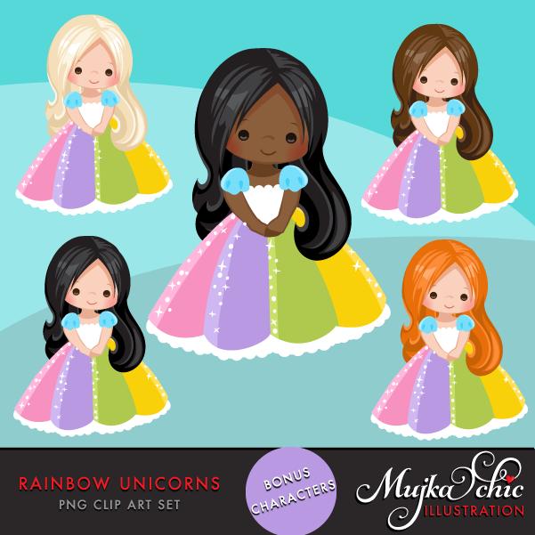 Unicorn Clipart Rainbow unicorns and little girls.