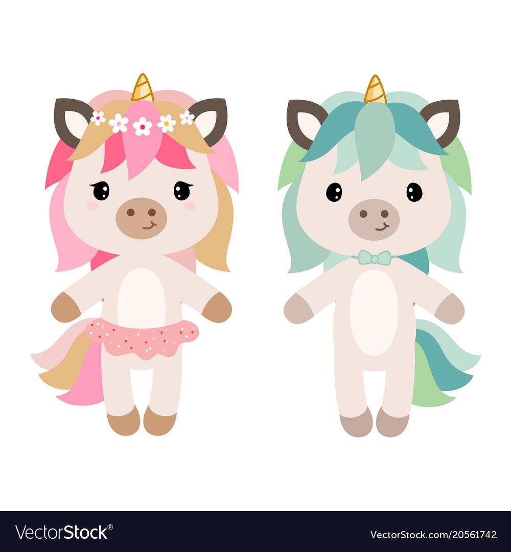 Cartoon unicorn girl and boy.