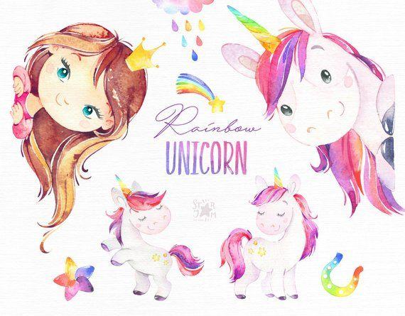 Rainbow Unicorn. Watercolor magic clipart, pink, rainbow.