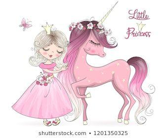 Hand drawn beautiful cute little unicorn with princess girl.