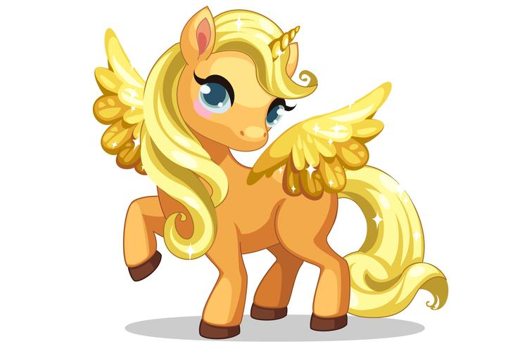 Cute little baby unicorn with beautiful golden hairstyle and.