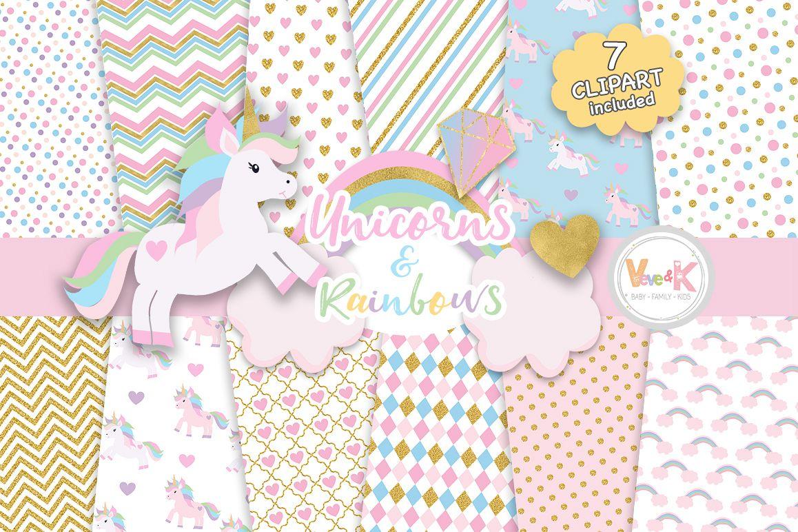 Unicorns Clipart, Rainbow Clipart, Unicorn Digital Papers, Rainbow Clipart,  Rainbow Papers, Unicorn Baby Shower, Gold Glitter Unicorn.