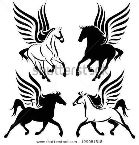 Unicorn With Wings Clipart Black And White.