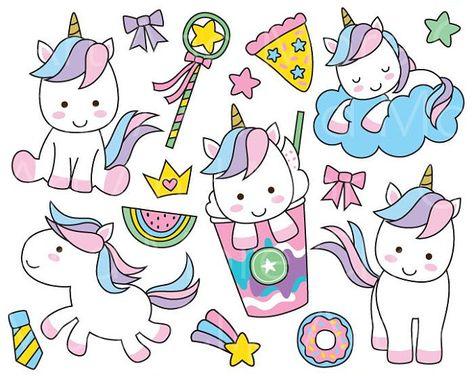 Lindo unicornio Clipart unicornio lindo Clip arte Unicorn.