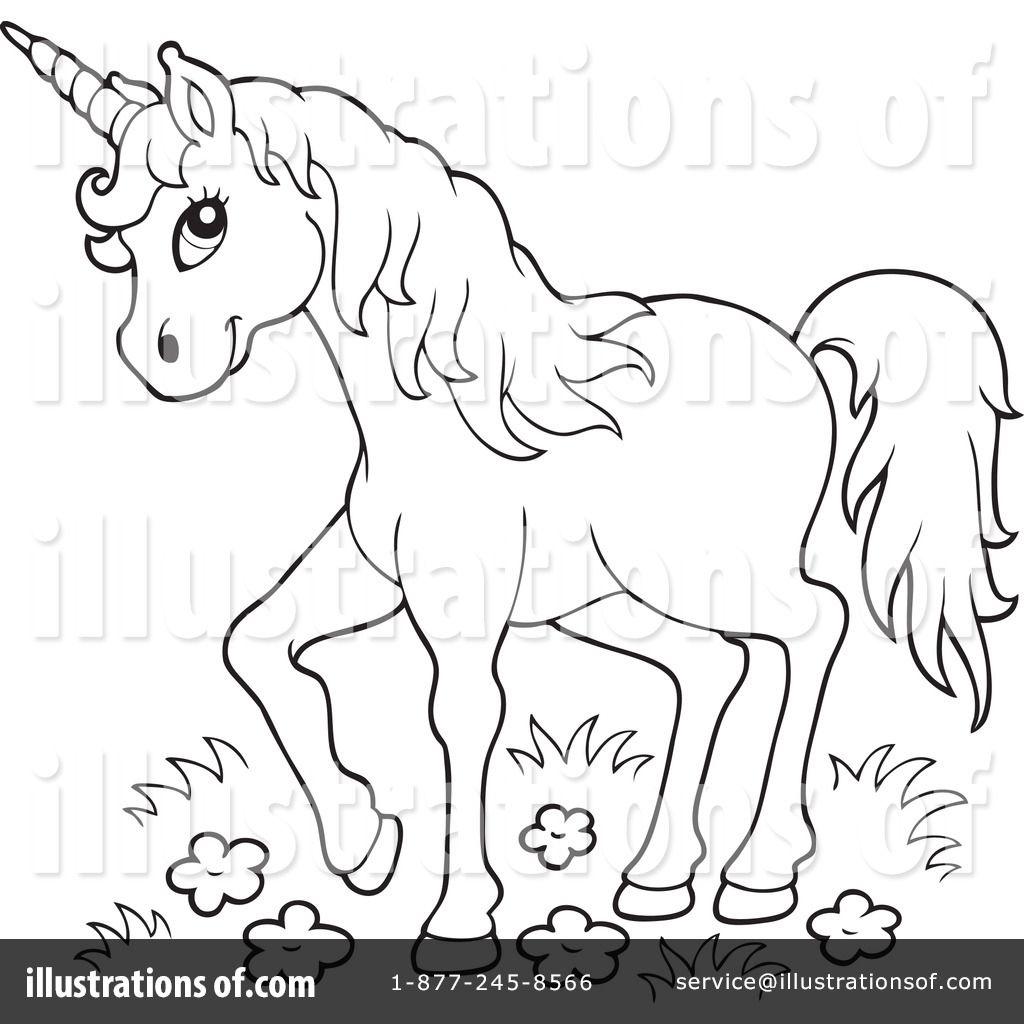 Unicorn Clipart black and white 8.