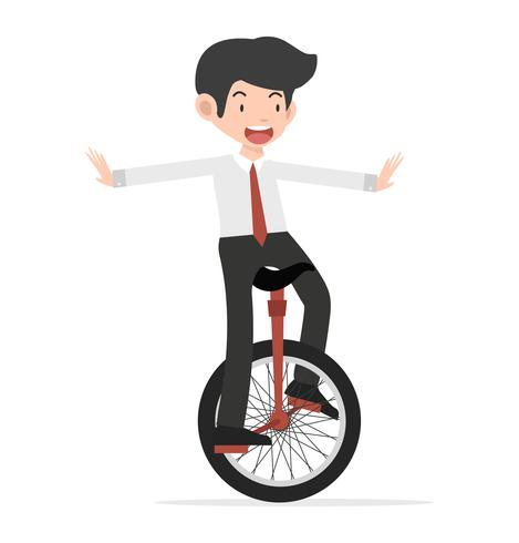Happy Business riding unicycle cartoon.