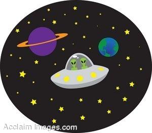 Clip Art Of Aliens Flying A UFO In Space.