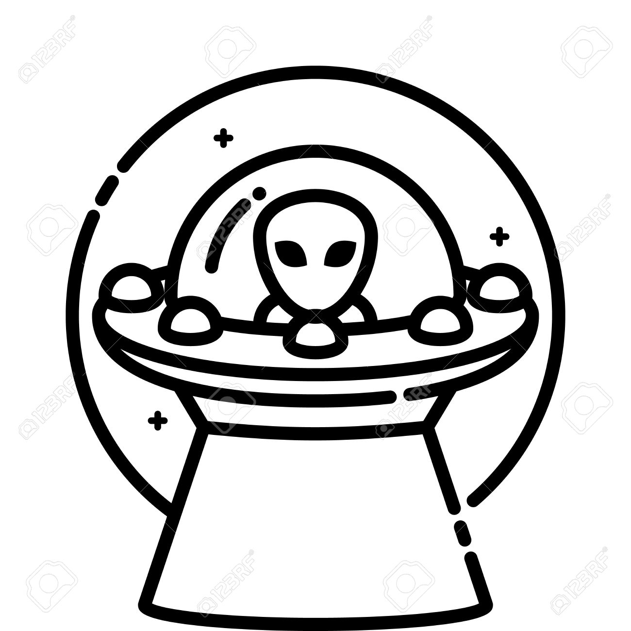 Unidentified Flying Object, Vector Outline Icon. Royalty Free.