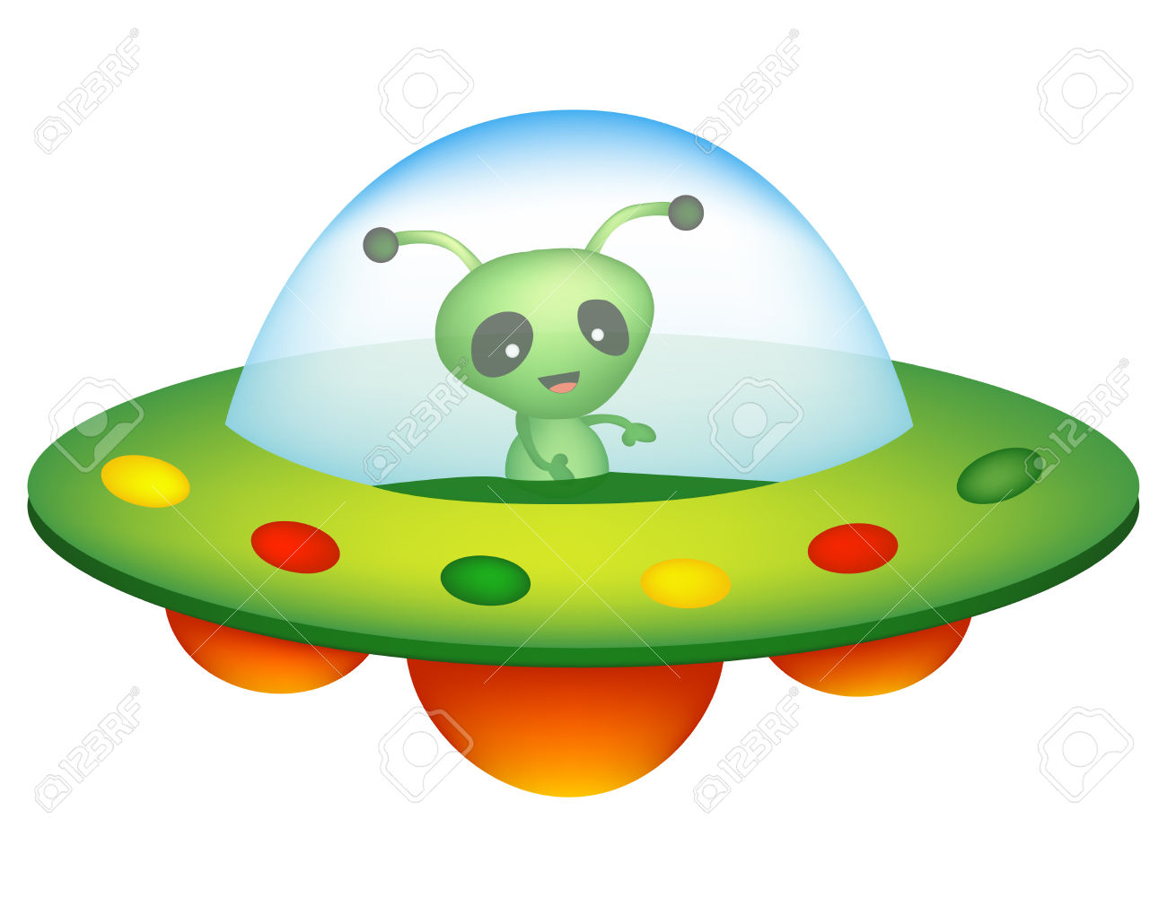 Illustration Of A Colorful Cartoon UFO / Unidentified Flying.