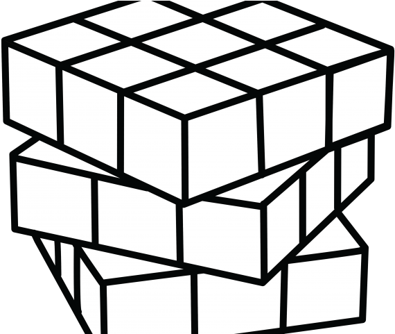 Cube Clipart Coloring Page.