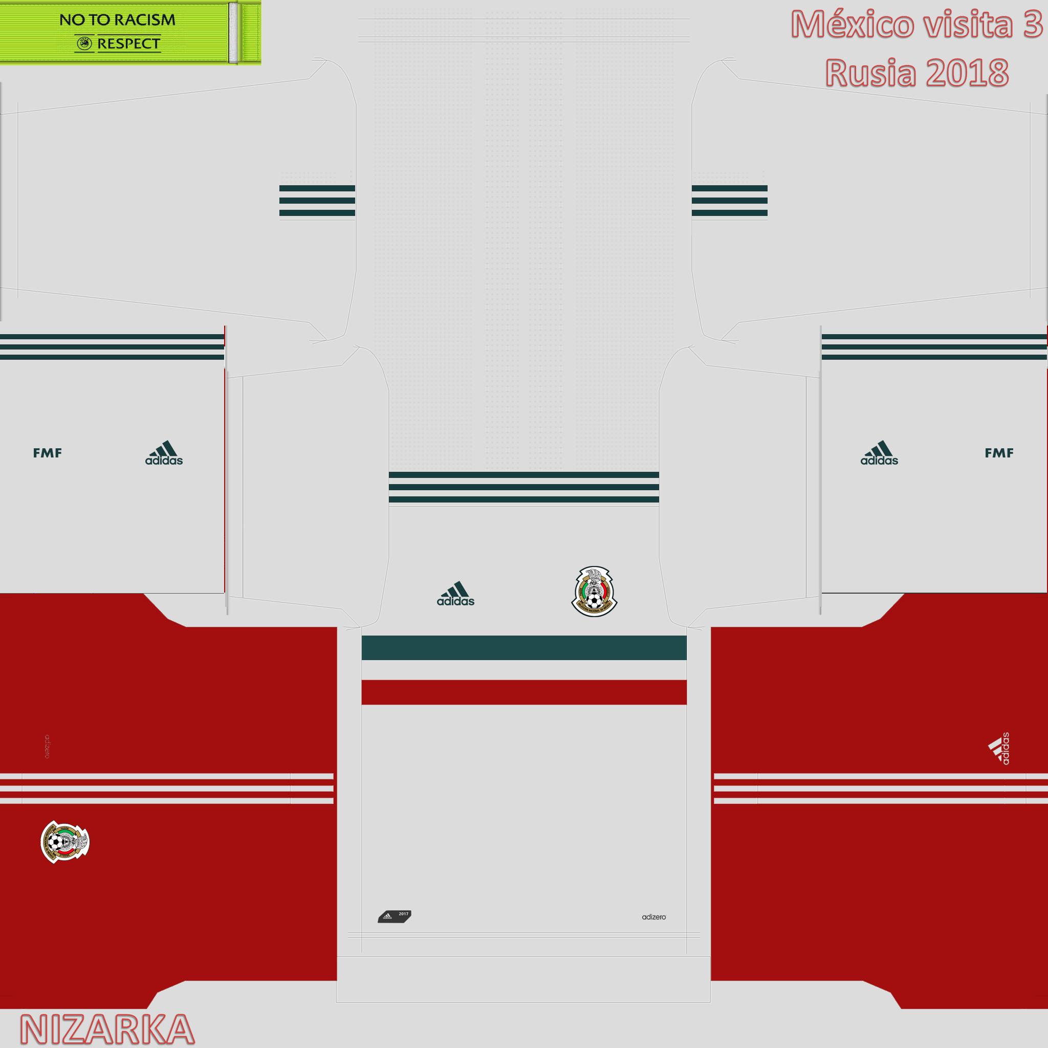 Uniforme Mexico visita 3 pes 2018 rusia 2018.