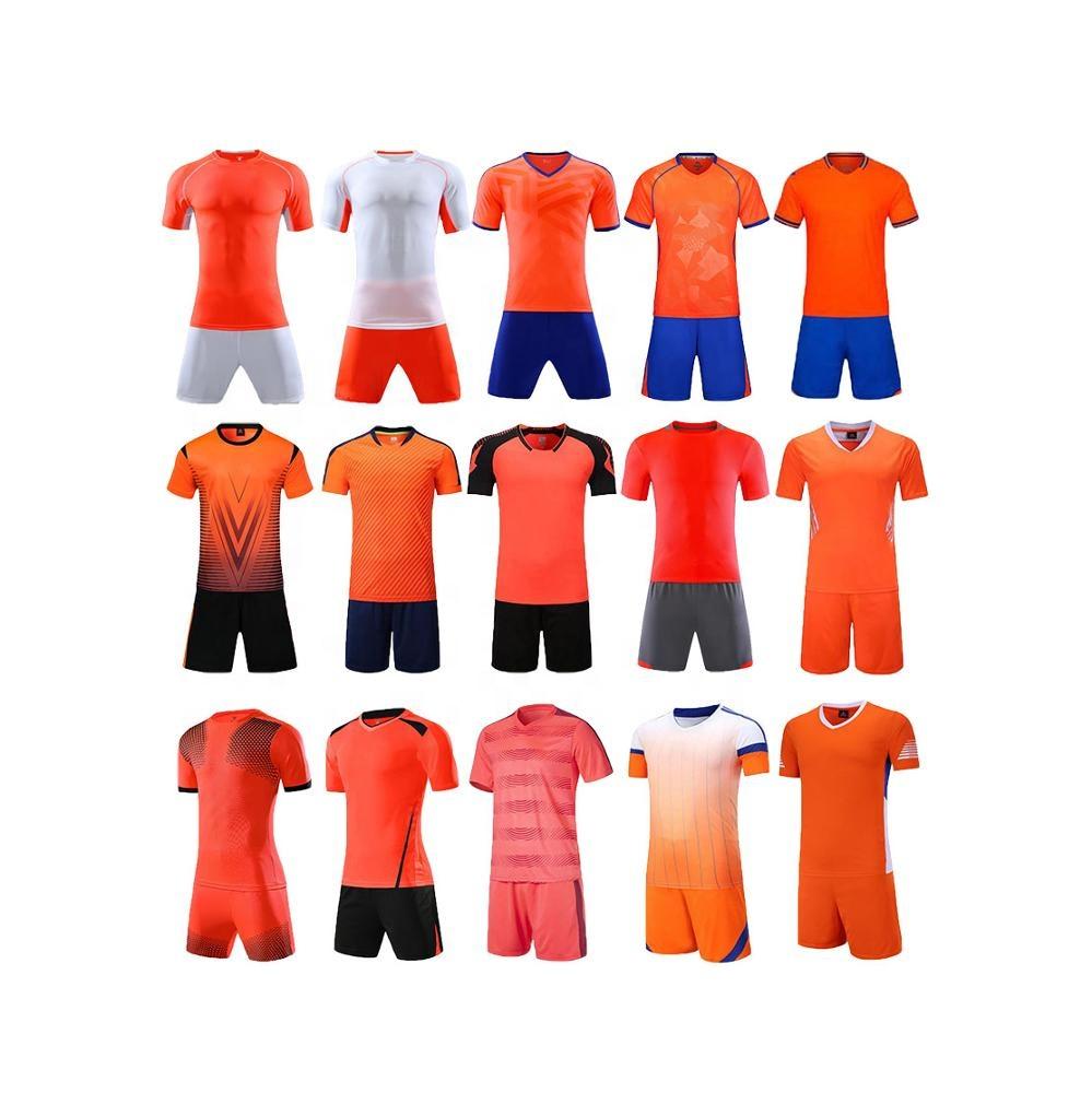 New Model Uniforme De Futbol Soccer 2019 Blank Cheap Orange Soccer Uniforms.