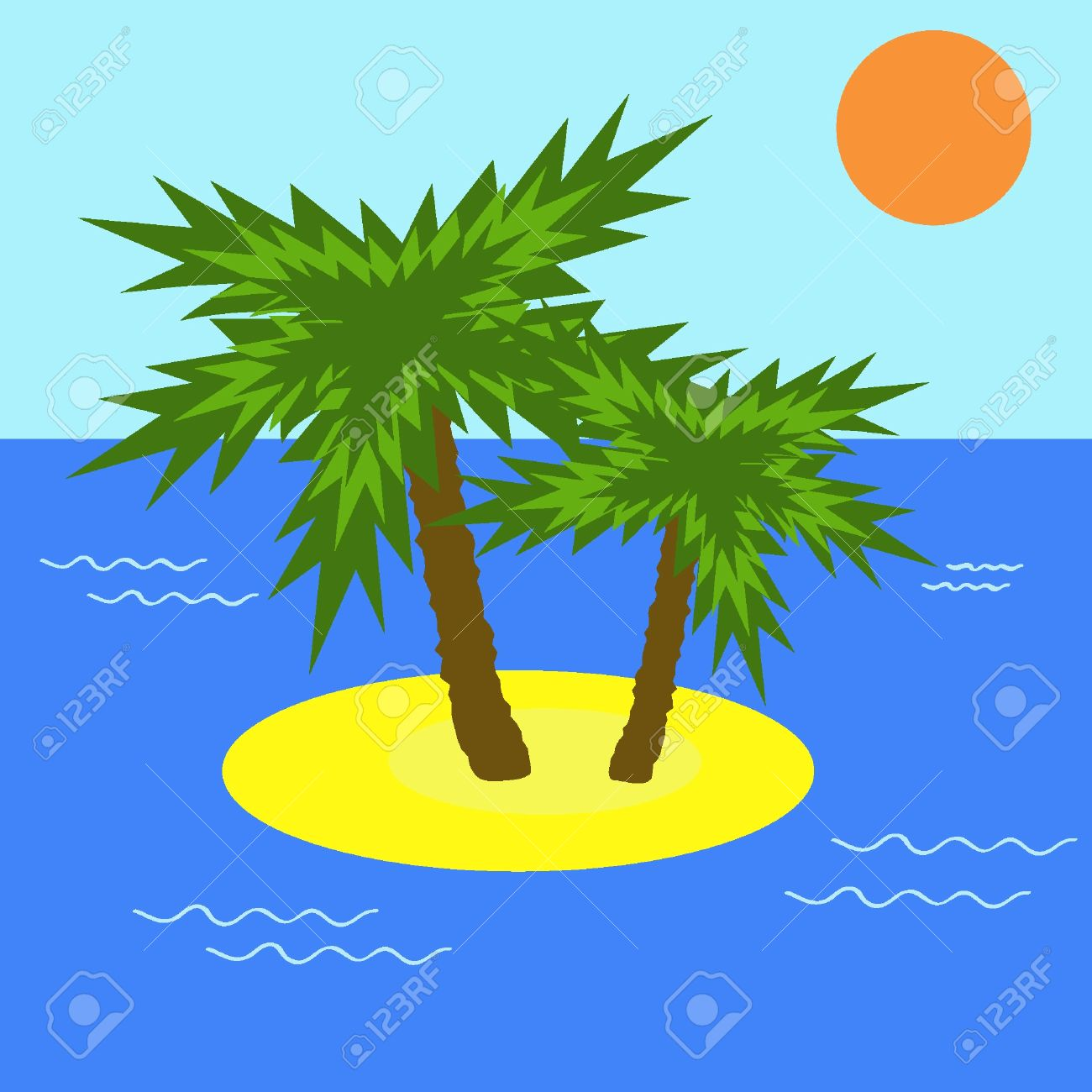 Desert Island With Two Palms. Vector Illustration. EPS8 Royalty.
