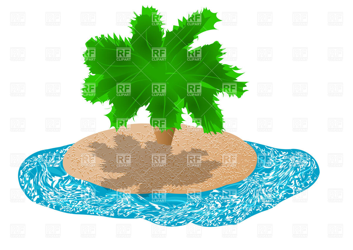 Uninhabited island with palm Vector Image #27279.
