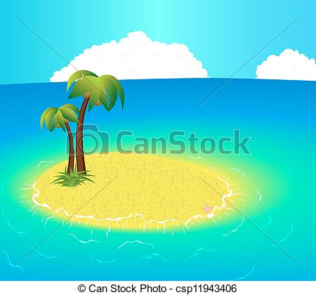 Vector Clipart of Small uninhabited Island with tropical palms and.
