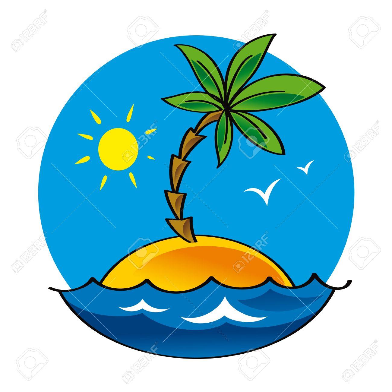 Uninhabited Island Nature Sea Ocean Palm Sun Lonelyness Alone.