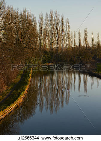 Stock Photo of Grand Union Canal, Milton Keynes, Midland, UK.