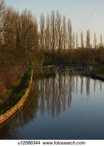 Stock Photo of Grand Union Canal, Milton Keynes, Midland, UK.