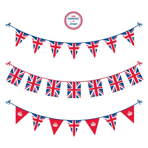 Free Jubilee Union Jack UK Bunting Vector.