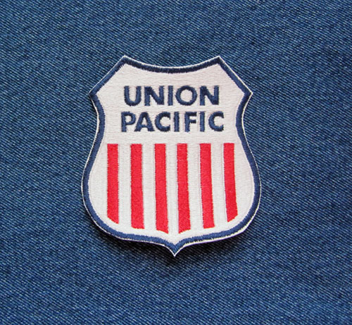Details about UNION PACIFIC Railroad Emblem Sew On Iron On Embroidered  PATCH Red White Blue.