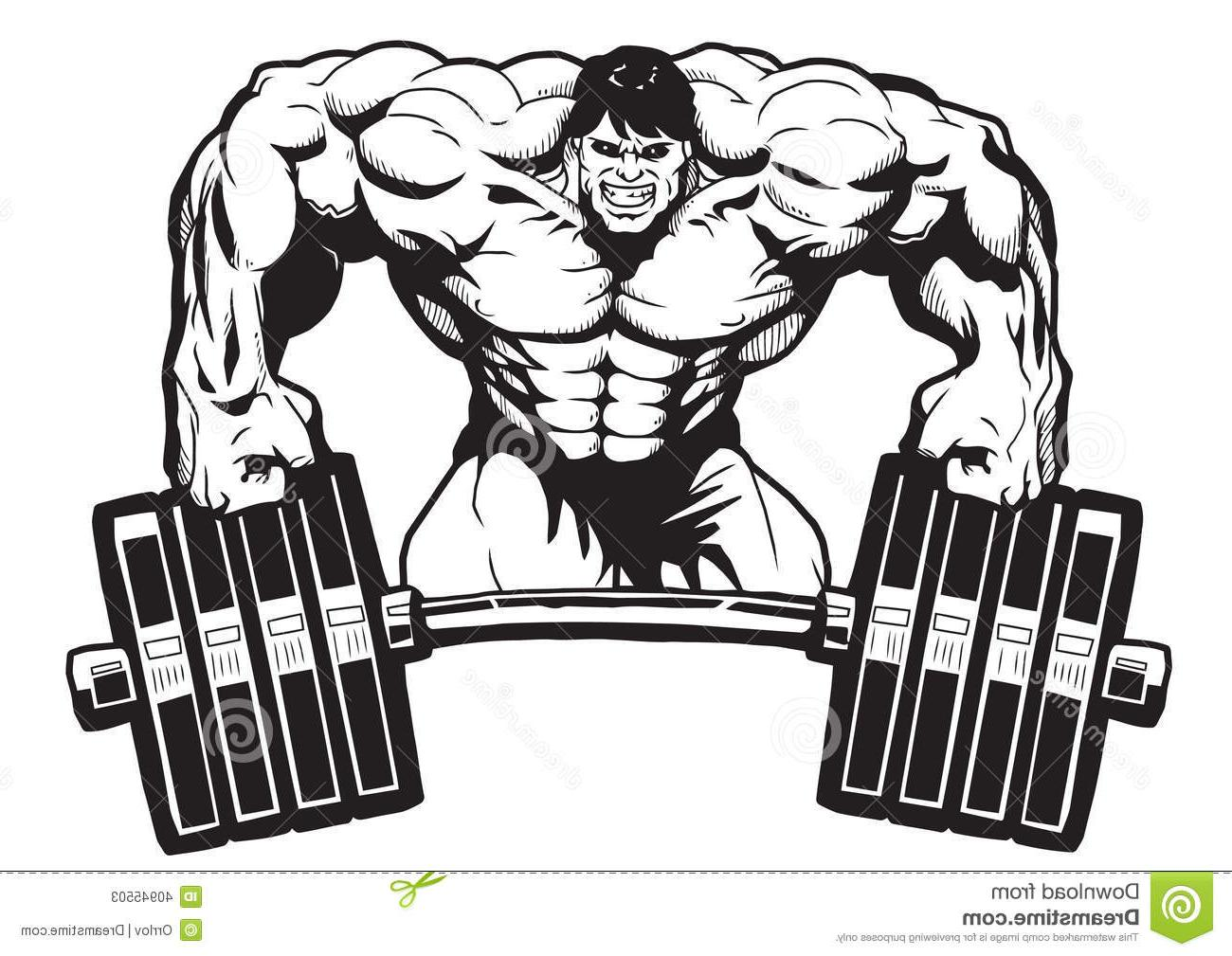 Vector Graphics Unique Sports Bar Bodybuilder Relies Isolated.