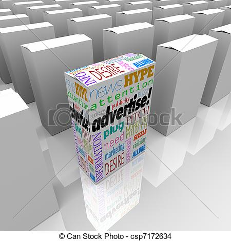 Drawing of Advertise Words on Box Store Shelf Unique Marketing.