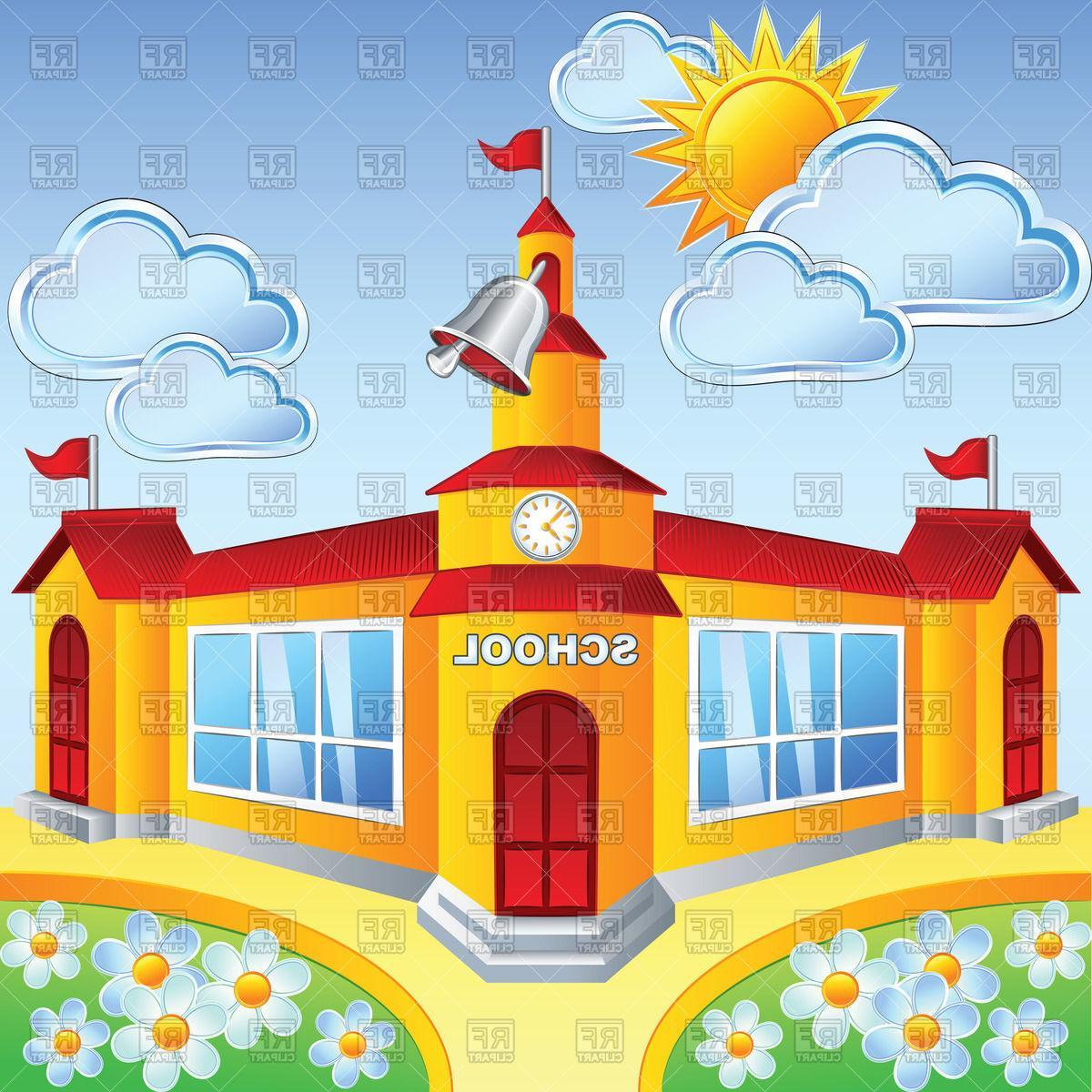 Unique Building In Sunny Day Vector Clipart School File Free.