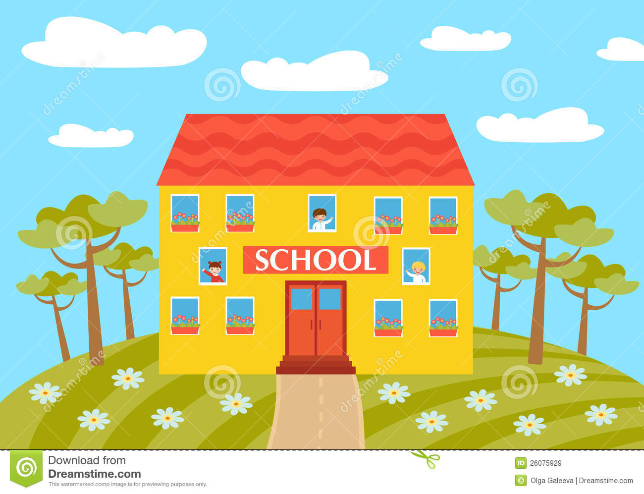 School building clipart for kids.