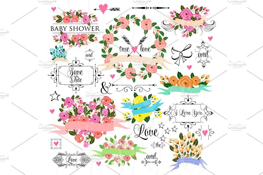 66 unique Wedding Floral clipart ~ Illustrations ~ Creative.