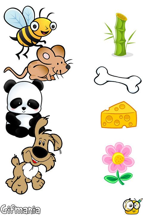 unir animales y alimentos #pasatiempos #unir #emparejar.