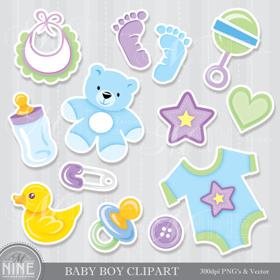 BABY BOY Clipart Digital Clip Art Instant Download Sticker.