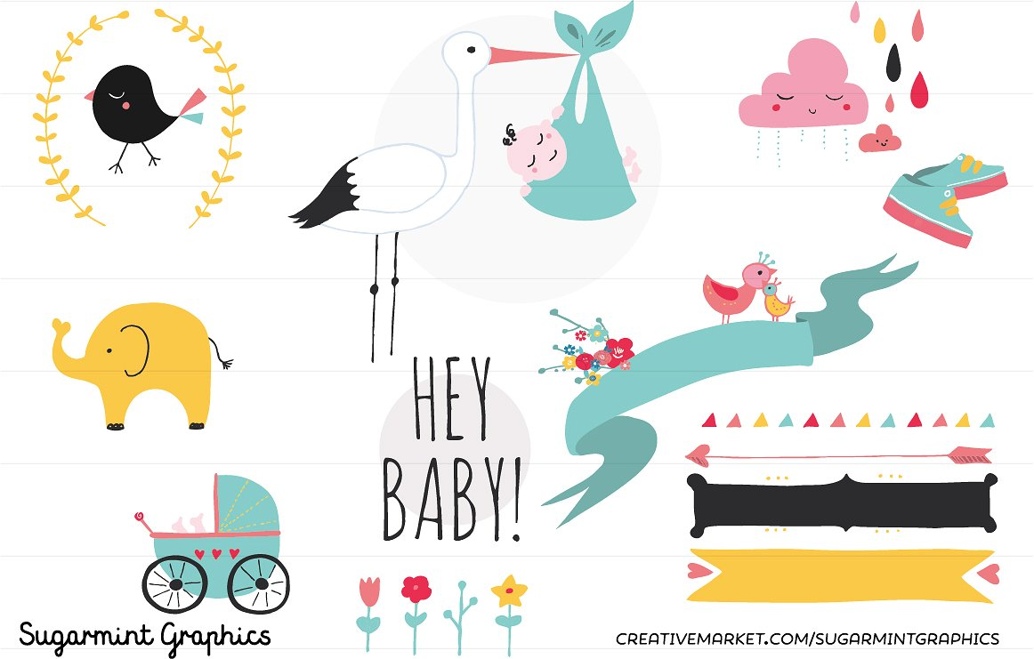 Baby Shower Clip Art Cute Kawai ~ Illustrations on Creative Market.